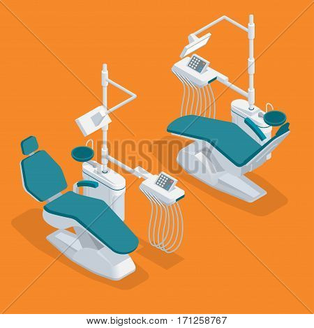 Isometric Modern Dentist Chair Isolated. Equipment in dental cabinet. Modern dental practice