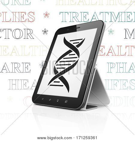 Healthcare concept: Tablet Computer with  black DNA icon on display,  Tag Cloud background, 3D rendering