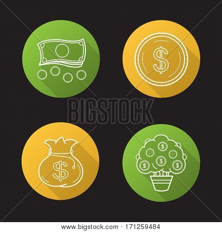 Money flat linear long shadow icons set. Dollar coin, cash, bank money bag and tree. Vector line illustration