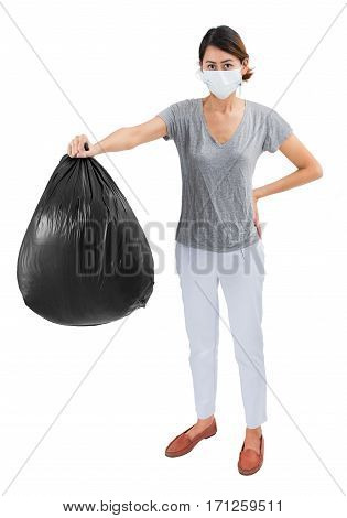 Asian housewife holding garbage bags isolated on white background.