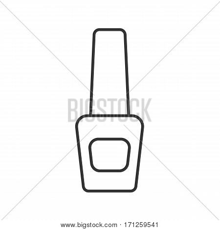 Nail polish bottle linear icon. Thin line illustration. Nailpolish contour symbol. Vector isolated outline drawing