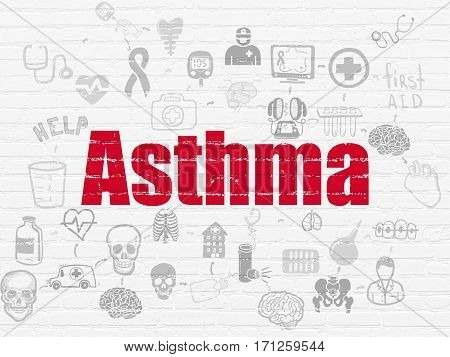 Healthcare concept: Painted red text Asthma on White Brick wall background with Scheme Of Hand Drawn Medicine Icons