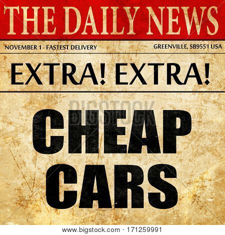 cheap cars, article text in newspaper