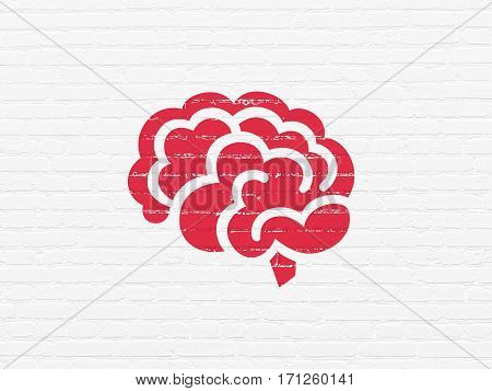 Healthcare concept: Painted red Brain icon on White Brick wall background
