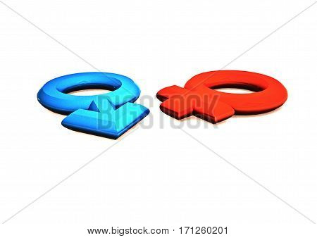 Dimensional man's and female signs on a white background. 3D rendering.