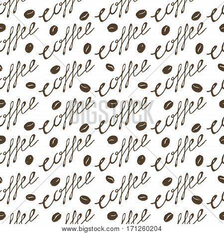 Coffee seamless pattern. Hand drawn repeating texture with coffee cups beans and lettering. Can be used for wallpaper wrapping textile design web background print etc. Vector eps8 illustration.