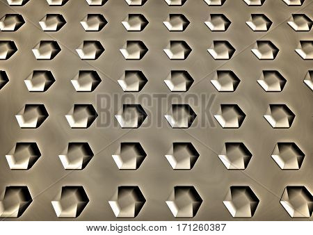 Abstract hexagon shape pattern plastic background. 3D rendering.