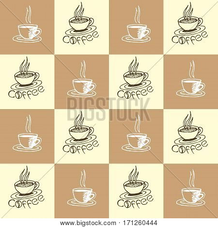 Coffee seamless pattern. Hand drawn repeating texture with coffee cups and lettering. Can be used for wallpaper wrapping textile design web background print etc. Vector eps8 illustration.