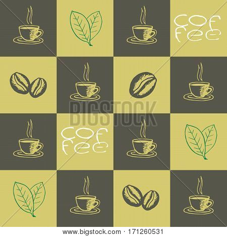 Coffee seamless pattern. Hand drawn repeating texture with coffee cups beans leaves and lettering. Can be used for wallpaper wrapping textile design web print etc. Vector eps8 illustration.
