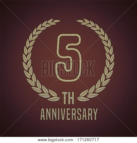 5 years anniversary vector icon, logo. Graphic design element with golden decorative branch for 5th anniversary card
