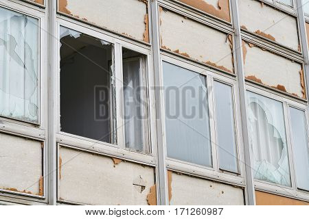 Destroyed windows of an abandoned office building in Magdeburg