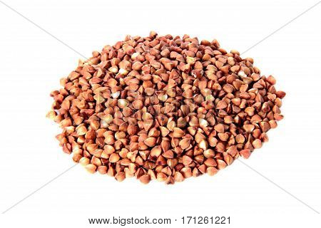 Buckwheat is scattered slide buckwheat isolated on white background.
