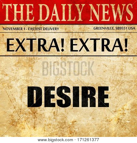 desire, article text in newspaper
