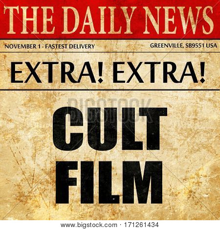 cult film, article text in newspaper poster