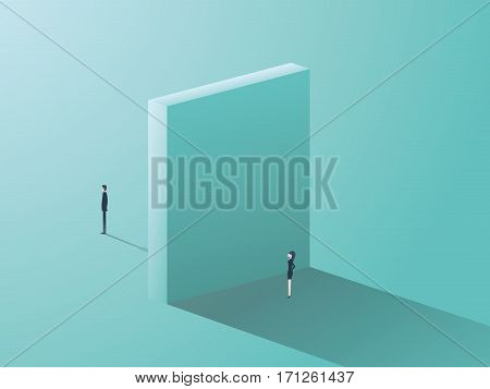 Business gender inequality concept with businessman and businesswoman symbol and huge wall between them. Eps10 vector illustration.