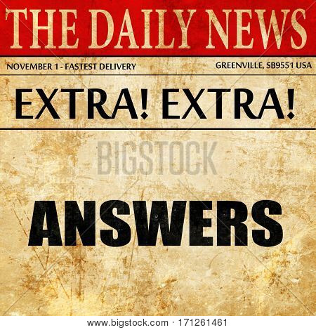 answers, article text in newspaper