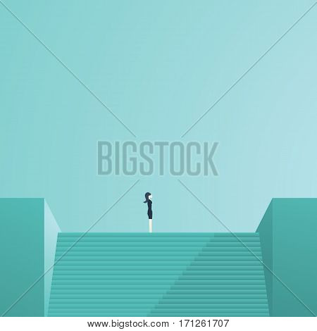 Businesswoman standing on top of stairs as a symbol of business leadership, career success, ambition and achievement. Eps10 vector illustration.
