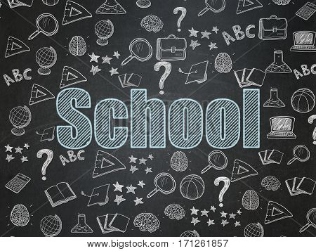 Studying concept: Chalk Blue text School on School board background with  Hand Drawn Education Icons, School Board