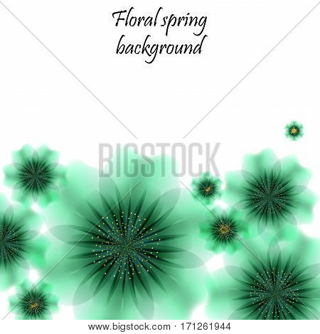 Green spring background with translucent flowers. Vector illustration. Eps 10.