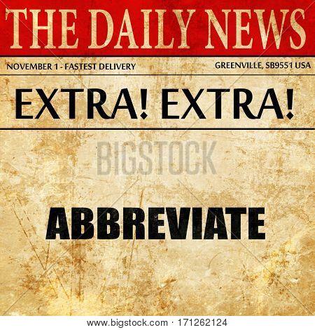 abbreviate, article text in newspaper