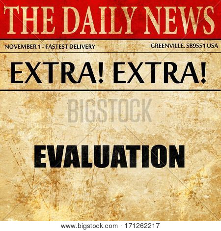evaluation, article text in newspaper