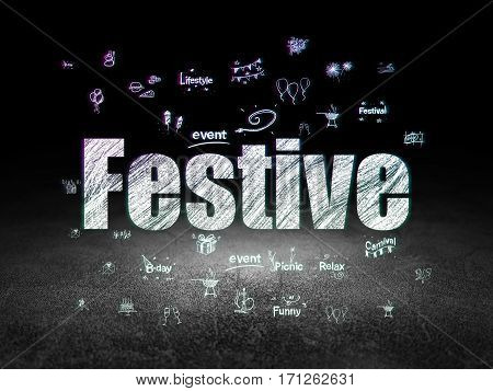 Entertainment, concept: Glowing text Festive,  Hand Drawn Holiday Icons in grunge dark room with Dirty Floor, black background