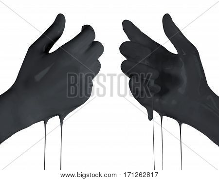 Woman's hands in black color holding something empty front and back side isolated on white background.