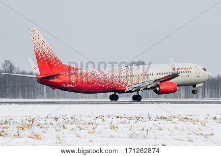 Boeing 737 Rossiya airlines, airport Pulkovo, Russia Saint-Petersburg 11 November 2016