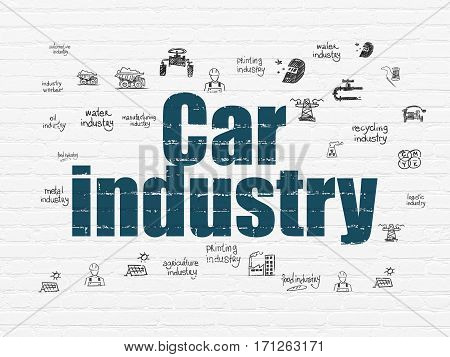 Manufacuring concept: Painted blue text Car Industry on White Brick wall background with  Hand Drawn Industry Icons