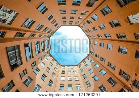 Hight courtyards in round St. Petersburg sky view