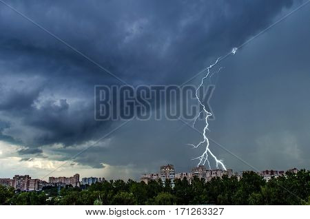 Summer thunderstorm over the city of St. Petersburg
