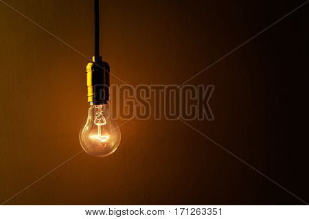 light bulb on brown background close up