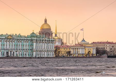Hermitage, St. Isaac's Cathedral, the Admiralty Saint Petersburg in the winter floods