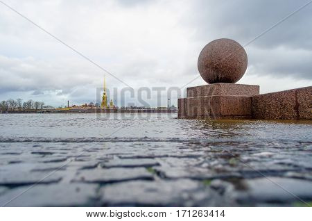 Peter and Paul Fortress in St. Petersburg in the winter floods