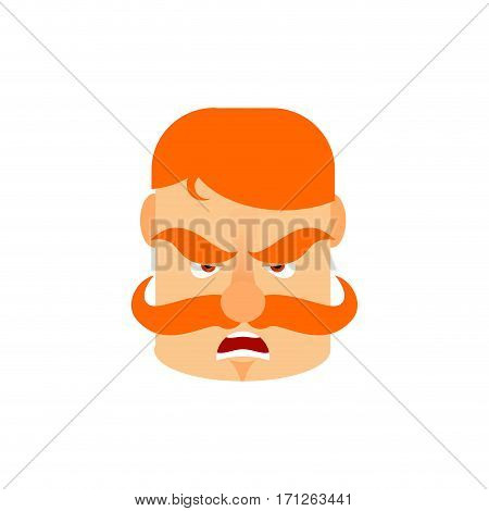 Vintage Irishman With Red Mustache Angry Emoji. Retro Men Face Aggressive Emotion Isolated