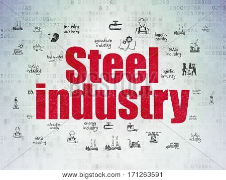 Industry concept: Painted red text Steel Industry on Digital Data Paper background with  Hand Drawn Industry Icons