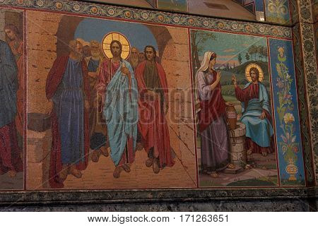 SAINT-PETERSBURG RUSSIA - JANUARY 05 2017: Mosaic with scenes from the life of Christ on the walls of the Church of the Savior on Blood in St. Petersburg.