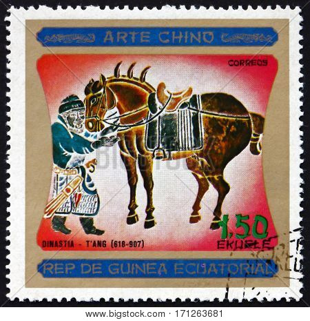 EQUATORIAL GUINEA - CIRCA 1977: a stamp printed in Equatorial Guinea shows Chinese Horse Painting Chinese Art Dynasty Tang circa 1977