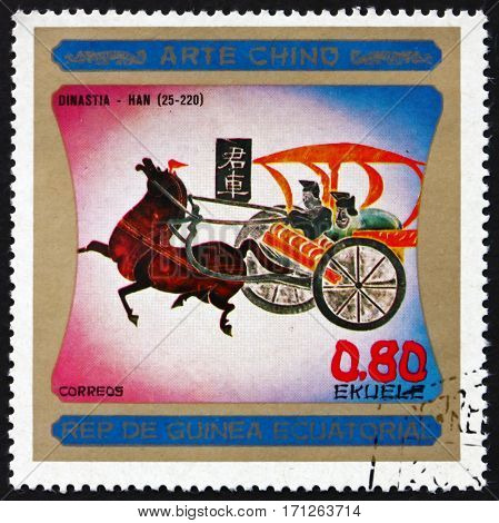 EQUATORIAL GUINEA - CIRCA 1977: a stamp printed in Equatorial Guinea shows Chinese Horse Painting Chinese Art Dynasty Han circa 1977