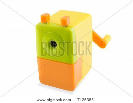 colorful rotary pencil sharpener isolated on white background