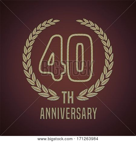 40 years anniversary vector icon, logo. Graphic design element with golden decorative branch for 40th anniversary card