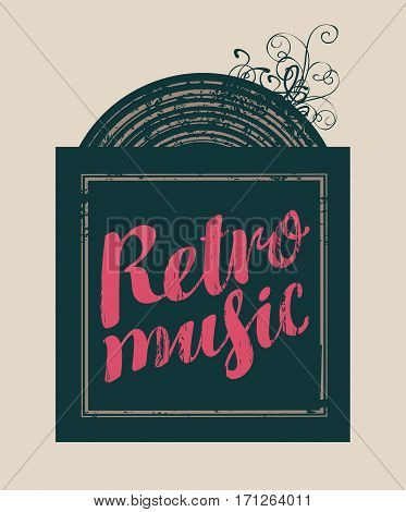 poster for the retro music with vinyl record