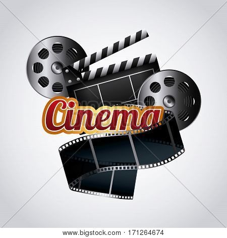 cinema reel film tape icon over white background. colorful design. vector illustration