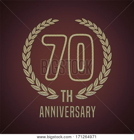 70 years anniversary vector icon, logo. Graphic design element with golden decorative branch for 70th anniversary card
