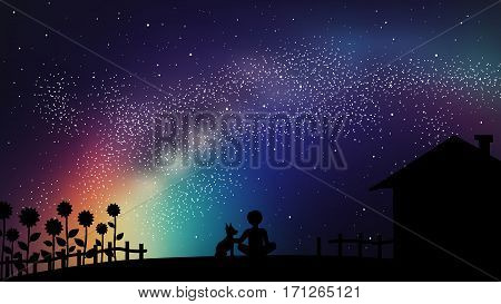 Vector Motivational Illustration. Inspirational Hipster Poster With Summer Space Sky And Boy With Hi