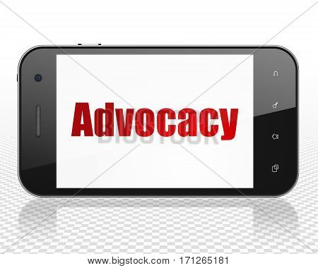 Law concept: Smartphone with red text Advocacy on display, 3D rendering
