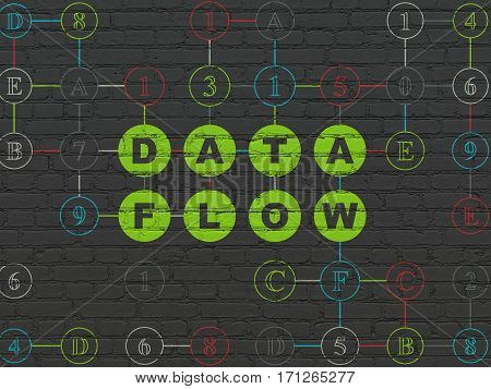Information concept: Painted green text Data Flow on Black Brick wall background with Hexadecimal Code