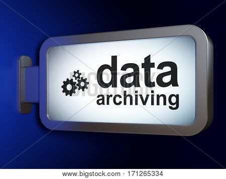 Information concept: Data Archiving and Gears on advertising billboard background, 3D rendering