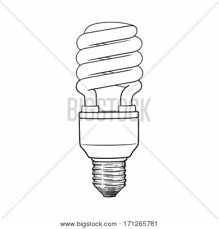 Fluorescent, energy saving, spiral light bulb, side view, sketch style vector illustration isolated on white background. hand drawing of spiral fluorescent light bulb, energy saving concept