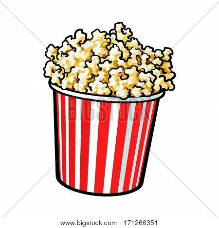 Cinema popcorn in a big red and white striped bucket, sketch style vector illustration isolated on white background. Popcorn bucket, traditional cinema, movie theatre attribute, food, snack